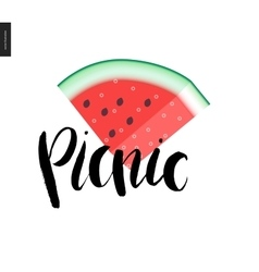 Picnic lettering and a slice of watermelon vector