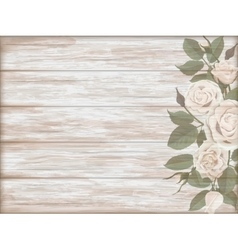 Vintage wooden background white rose bud vector image