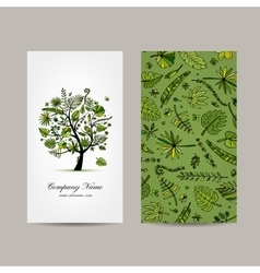 Business card collection tropical tree design vector image