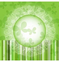 Green spring round frame vector image