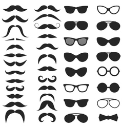 Set of hipster mustache and glasses vector