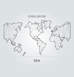 polygonal abstract world map usa in the center vector image