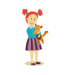 Young girl hugs her cat flat isolated vector