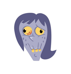 female zombie avatar icon in cartoon style vector image