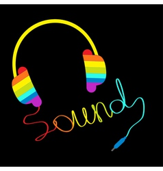 Rainbow headphones with cord word sound vector