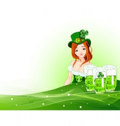 St Patrick's day girl background vector image