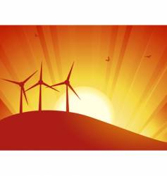 Silhouette wind turbines vector