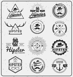 Set of hipster insignia logo design for logo vector image