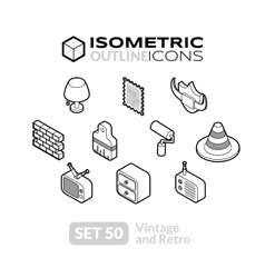 Isometric outline icons set 50 vector