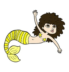 Comic cartoon pretty mermaid vector