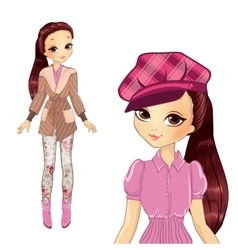 Brunette girl in elegant pink hat vector