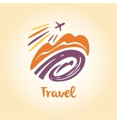 Logo travel company tourist trip the vector