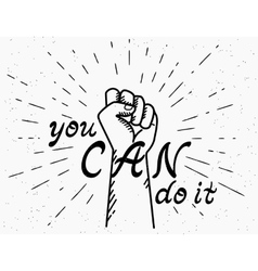 You can do it handwritten text with human fist vector