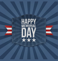 Happy memorial day festive banner with ribbon vector
