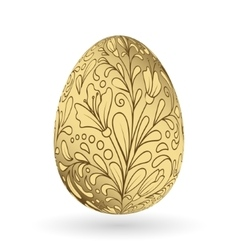 Colorful easter golden egg with ornate doodle vector