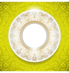 Ceramic ornamental plate isolated on yellow vector