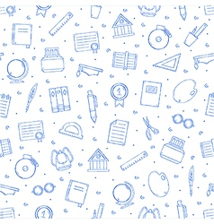 School elements pattern blue icons vector image