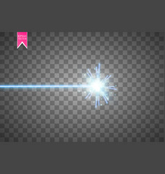 Abstract blue laser beam isolated on transparent vector