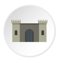 Ancient fortress icon circle vector