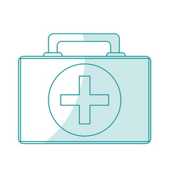 Blue silhouette shading cartoon first aid kit with vector