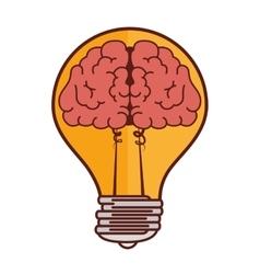 Bulb light idea icon brain mind vector