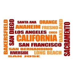 Califirnia state cities names cloud vector