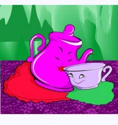 cartoon jug and cup vector image vector image