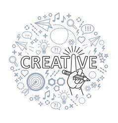 Creative ideas concept line art hand with pencil vector
