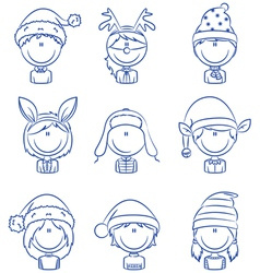 Cristmas children avatars vector image