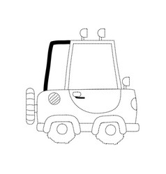 Dotted shape tractor farm vehicle plant transport vector