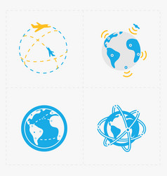 Earth icons set on white background vector