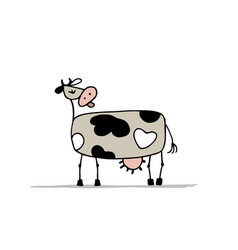 funny cow character sketch for your design vector image vector image