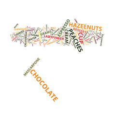 Gianduia peaches text background word cloud vector