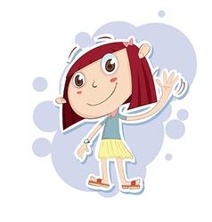 Girl waving hand vector