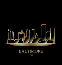 Gold silhouette of baltimore on black background vector