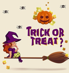 Halloween with witch on broom vector image vector image
