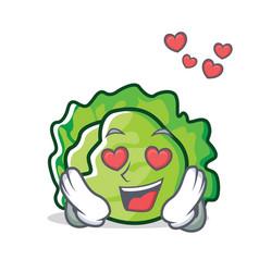 In love lettuce character cartoon style vector