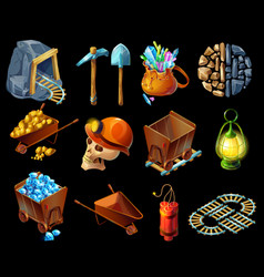 isometric mining game elemens set vector image vector image