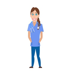Medical Woman Cartoon Character Flat Design vector image