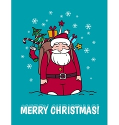 Merry christmas card with santa claus and gifts vector