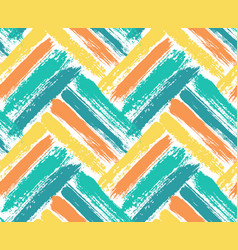 Painted chevron pattern blue yellow background vector