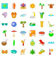 palm tree icons set cartoon style vector image