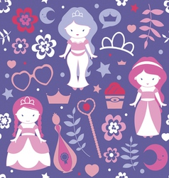 Pattern with cute princesses vector image vector image