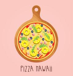 Real pizza hawaii on wooden board vector