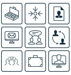 Set of 9 business management icons includes cv vector