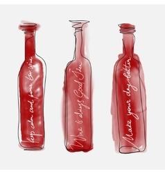 Set of bottle wine - watercolor bottles hand drawn vector