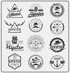 Set of hipster insignia logo design for logo vector image vector image