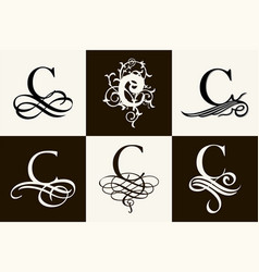 Vintage set capital letter c for monograms and vector