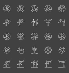 wind generator and turbine icons vector image vector image