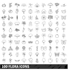 100 flora icons set outline style vector